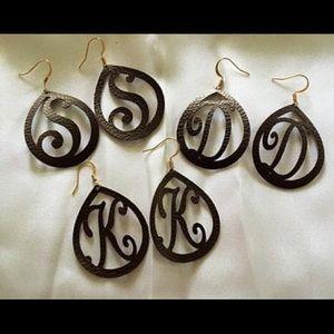 Monogram Letter Faux Leather Earrings
